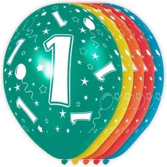 10x stuks 1 Jaar thema versiering helium ballonnen 30 cm - Leeftijd feestartikelen versiering