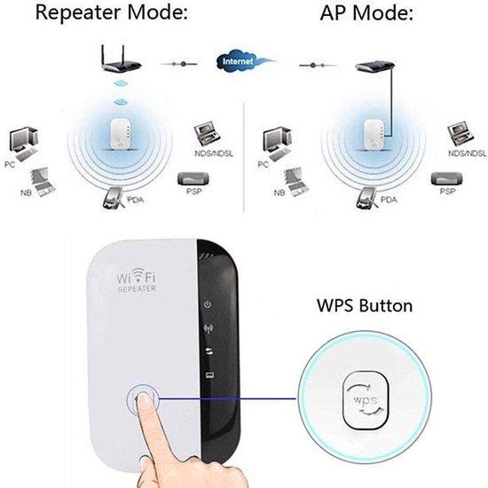 Ultraboost Wireless WiFi Versterker Stopcontact + Inclusief Internetkabel - Wifi Signaalversterker - Ethernet - Wireless Range Extender- 300 mbps - 2.4 Ghz – Wit
