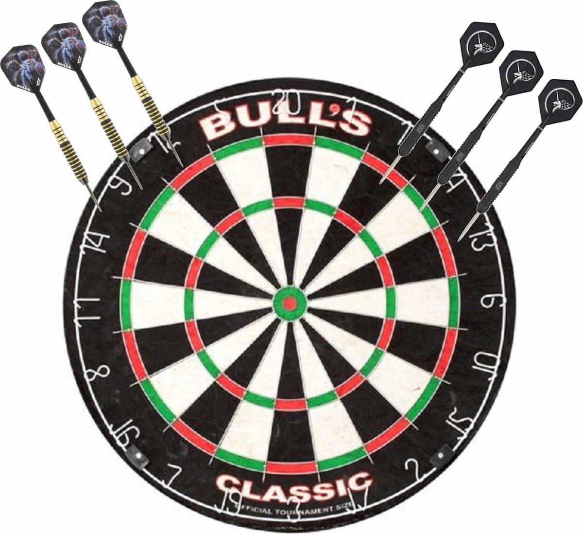 Professioneel dartbord Bulls The Classic incl 2 sets dartpijlen 22 grams - Sportief spelen - Darten/darts - Dartborden voor kinderen en volwassenen.