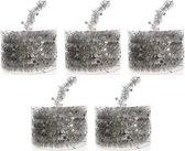 5x Kerstboom folie slingers zilver 700 cm - sterren kerstslingers