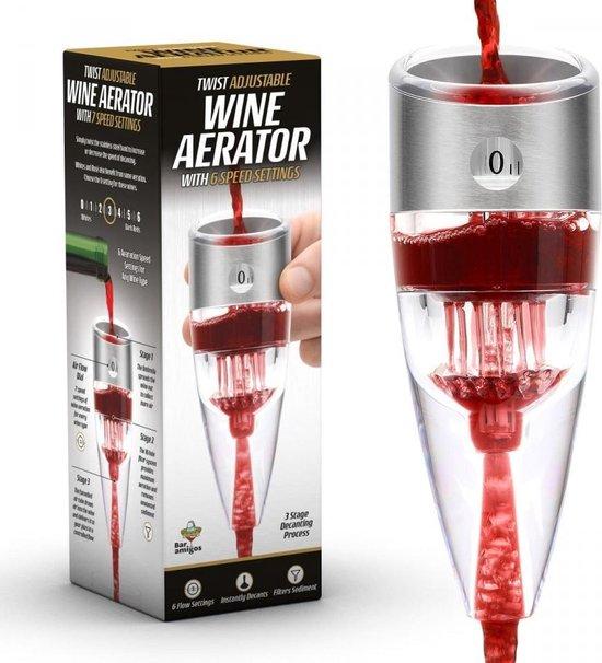 Bar Amigos Twist - Wijn Decanter / Aerator - Deluxe - Instelbaar - 3 voudige werking - Wijn beluchter