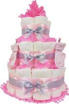 Luiertaart meisje 3-laags met 45 A-merk pampers en XL kaart - kraamcadeau - babyshower