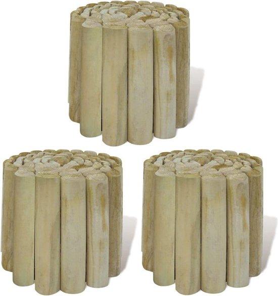 vidaXL Rolborders voor gazon 250x20 cm FSC hout 3 st