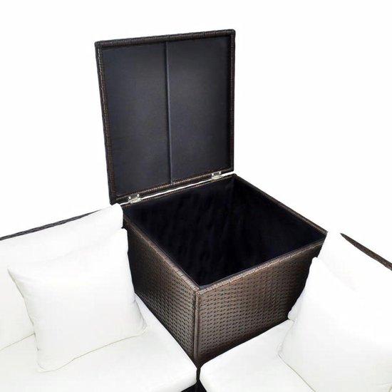 vidaXL 4-delige Loungeset met kussens poly rattan bruin - vidaXL