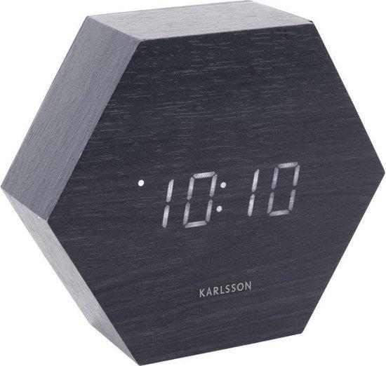 Karlsson Staande klok Hexagon Zwart - Hout