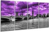 Glasschilderij Londen | Paars, Grijs, Zwart | 160x80cm 4Luik | Foto print op Glas |  F002453