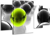 Canvas schilderij Ballen | Zwart, Wit, Groen | 160x90cm 4Luik