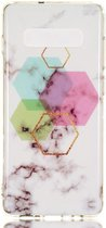 Samsung Galaxy S10 Plus TPU Back Cover met Marmer Print Hexagonnen