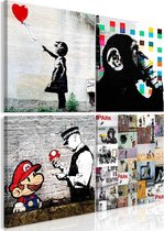 Schilderij - Banksy Collage , 4 delen