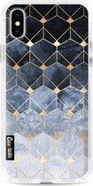 Apple iPhone X / iPhone XS hoesje Blue Hexagon Diamonds Casetastic Smartphone Hoesje Hard Cover case