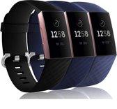 YONO Siliconen Bandjes voor Fitbit Charge 3/4 – Zwart, Grijs en Blauw 3-Pack – Small