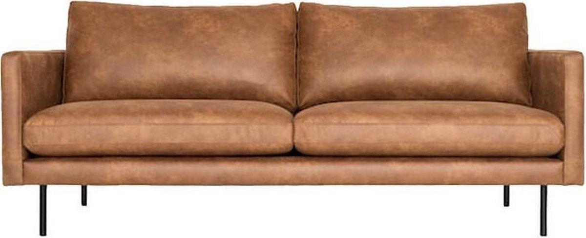 3-zits bank Daisy met doorgestikte armleuning   leer Colorado cognac 03   1,96 mtr breed - HomingXL