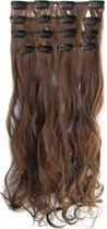 Clip in hair extensions 7 set wavy bruin - 8#