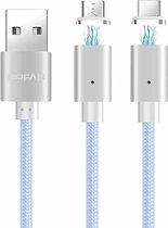 POFAN P13 1m 2A Magnetisch USB-C / Type-C + Micro USB Weave-stijl Datasynchronisatie Oplaadkabel met LED-licht, CE / FCC / ROHS, voor Samsung / Huawei / Xiaomi / Meizu / LG / HTC en andere smartphones (zilver)