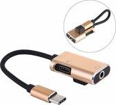 J-053 3A USB-C / Type-C naar USB-C / Type-C 3,5 mm jack-oplaadkabel audioadapter (goud)