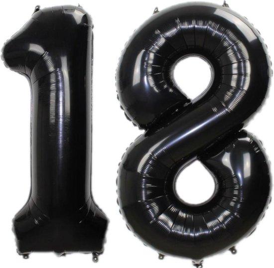 Folie Ballon Cijfer 18 Jaar Zwart 86Cm Verjaardag Folieballon Met Rietje