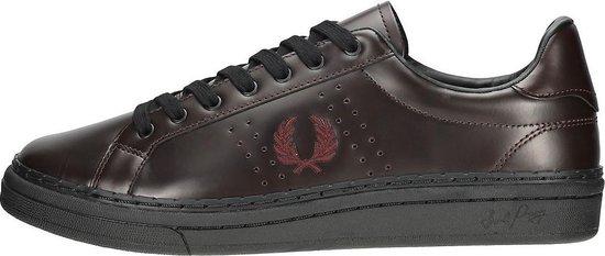Fred Perry B721 High Shine Leather B721 Oxblood - Nette Casual lederen - Voor Heren Schoenen / Sneakers - Echt leer - Bruin / Zwart - Herenschoenen Maat 42