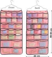 Dubbelzijdige opbergzak - Kast organizer- Kledingkast kleerhanger- Opbergsysteem voor Ondergoed - Ondergoed Organizer - Hangende Organizer Kledingkast- Make-up Organizer – Opbergsysteem voor Sieraden - Diversen - Opbergmanden- 42 Vakken- Roze