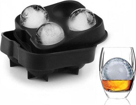 LOUZIR Whiskey Ice Cube Ijsblokjes – Ijsklontjes vorm rond siliconen – Ijsballen vorm – 4 ballen - Met deksel - Zwart