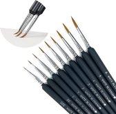 WHITE BLOSSOM Penselen – Schilder Kwasten – Miniatuur – Schilderen – Aquarel – Watercolor – Set – 9 Kwasten – Dunne Kwast – Waterverf – Nail Art - Hobby - Zwart