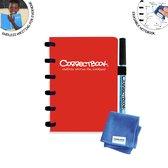 Whiteboard notitieblok / schrift - Correctbook - A6 - Gelijnd - Rood