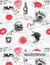 Sketchbook: Europe London Travel Fun Framed Drawing Paper Notebook with Red Roses