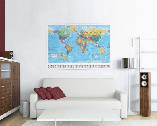 Poster Wereldkaart Extra Large -formaat 140x100cm -XXL - Multi-Wanddecoratie
