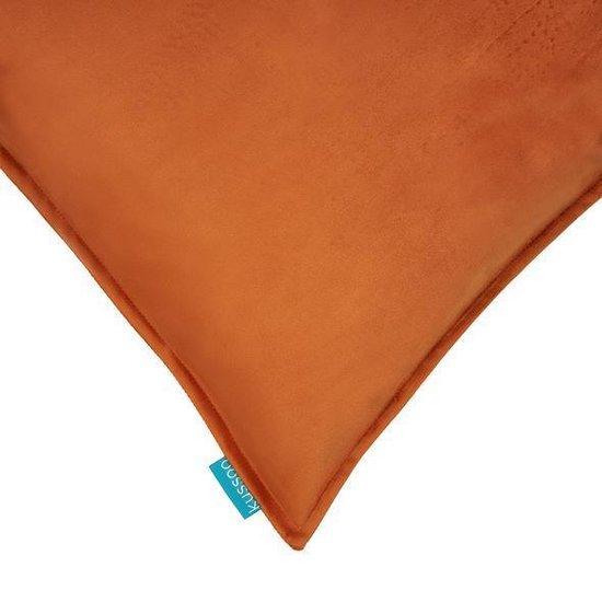 Kussen fluweel oranje uni 50x50 cm & 30x50 cm set van 2