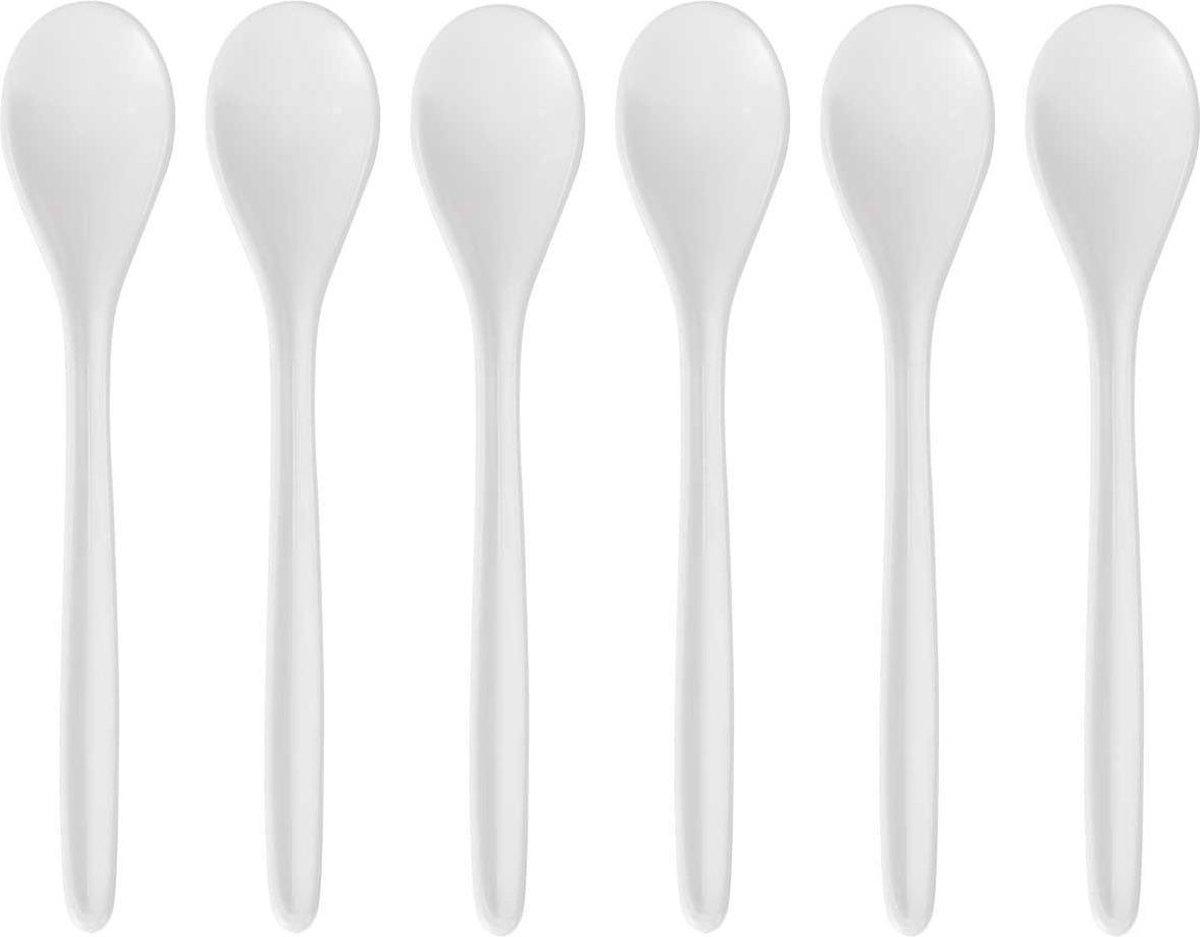 6x Eierlepeltjes wit kunststof 13 cm - Keukengerei - Keukenbenodigdheden - Bestek - Lepels/lepeltjes