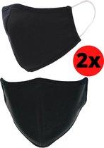 Mondkapje Wasbaar - Katoen - Niet Medisch Mondmasker - Herbruikbare Mondmaskers - Uitwasbare Mondkapjes - Hoge Kwaliteit - Ultiem Draagcomfort - Per 2 Stuks - Zwart