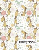 Sketchbook: Funny Cartoon Horse with Flowers Fun Framed Drawing Paper Notebook