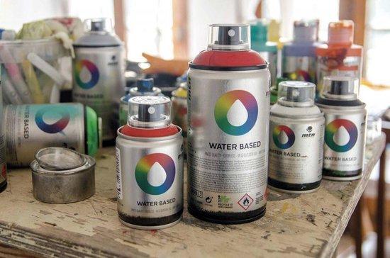 MTN Gele waterbasis spuitverf - 300ml lage druk en matte afwerking