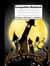 Composition Notebook: Awesome Halloween Gifts: Black Castle Owls & Full Moon, Composition Book for Back To School Home Work