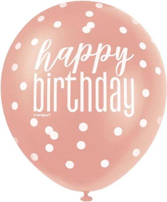 Unique Ballonnen Birthday 30 Cm Latex Roségoud 6 Stuks