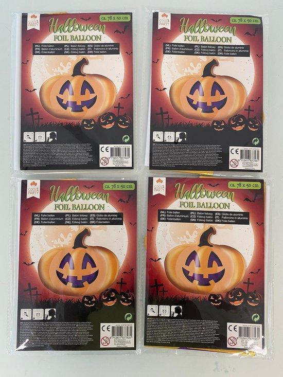 Halloween decoratieve folie ballon (pompoen) - set van 4 stuks