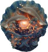 Dolfijnen decoratie polyresin – Decoratieve lamp met dolfijn voor slaapkamer, woonkamer en meer 15 cm hoog | GerichteKeuze