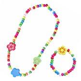 Fako Bijoux® - Kinderketting en Armband - Hout - Bloemen