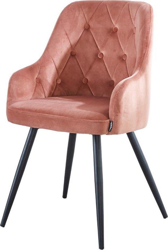 Eetkamerstoel - Model Amalia - met armleuning - Troon Collectie - Roze - Velvet stoel - Engels patroon - Knopen - Vier metalen poten