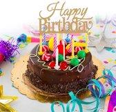 Taart topper Happy Birthday glitter goud - cake topper - cup cake - gefeliciteerd - verjaardag - taartdecoratie - taartversiering