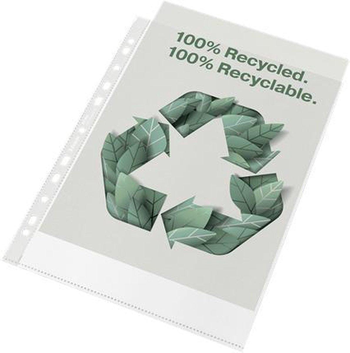 Esselte 100% Gerecyclede PP A4 Premium Showtas - 70 micron - 100x Transparante, Milieuvriendelijke Insteekhoezen - Duurzaamheid