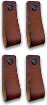 Leren handgrepen - Cognac - 4 stuks - 16,5 x 2,5 cm | incl. 3 kleuren schroeven per leren handgreep