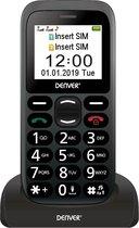 Denver BAS-18300M - GSM - Senioren mobiele telefoon - 2G - SOS knop - Oplaadstation - Simlock vrij - Zwart