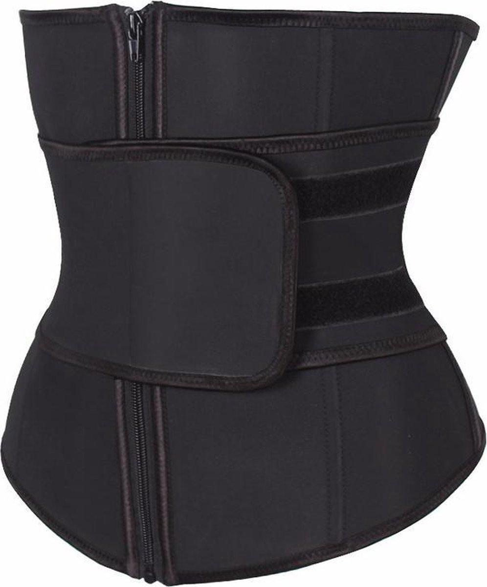 Premium Chibaa 'Waist Plus' sport waisttrainer Zwart Neopreen / nylon 7 stalen baleinen - Medium