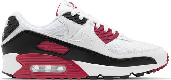 Nike Air Max 90 Heren Sneakers - White/White-New Maroon-Black - Maat 40