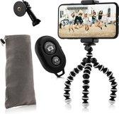 Flexibel mini-statief met extra flexibele poten KIT: met telefoonhouder, bluetooth remote, GoPro-adapter & opbergzakje