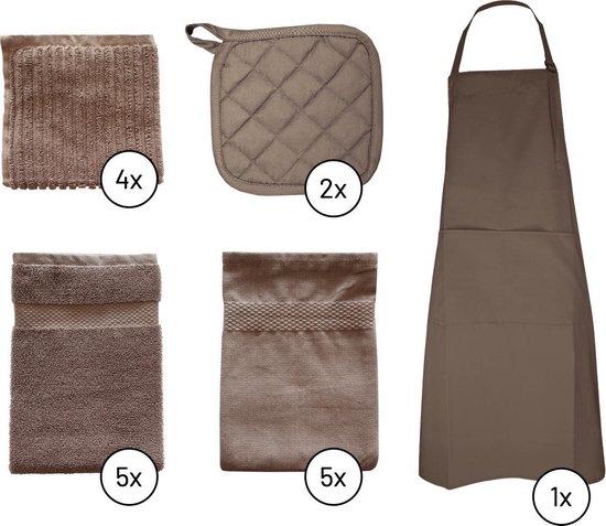 EM Kitchen Set Taupe - 5 Theedoeken+ 5 Keukendoeken + 6 Vaatdoeken + 2 Pannenlappen + 1 Schort