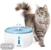 Waterfontein 2L - Kattenfontein - drinkfontein- drink fontein huisdieren - poezen waterbron - dieren drinkbak - water bak voor kat en hond - inc. 5 filters - Blauw | Wit