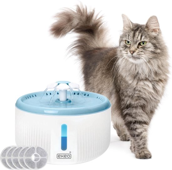 Waterfontein 2L - Kattenfontein - drinkfontein- drink fontein huisdieren - poezen waterbron - dieren drinkbak - water bak voor kat en hond - inc. 5 filters