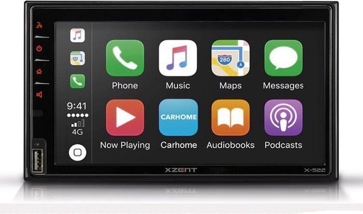 Xzent X-522   2-DIN multimedia autoradio met Apple CarPlay - Android Auto - USB - Bluetooth - DAB+