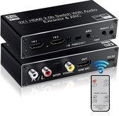 DrPhone ARC7 - HDMI Switch 4K @ 60hz met Audio Extractor - 2 in 1 Out HDMI2.0b & HDMI ARC met CEC ondersteuining optische SPDIF + Coax + Analoge RCA Stereo Audio Out